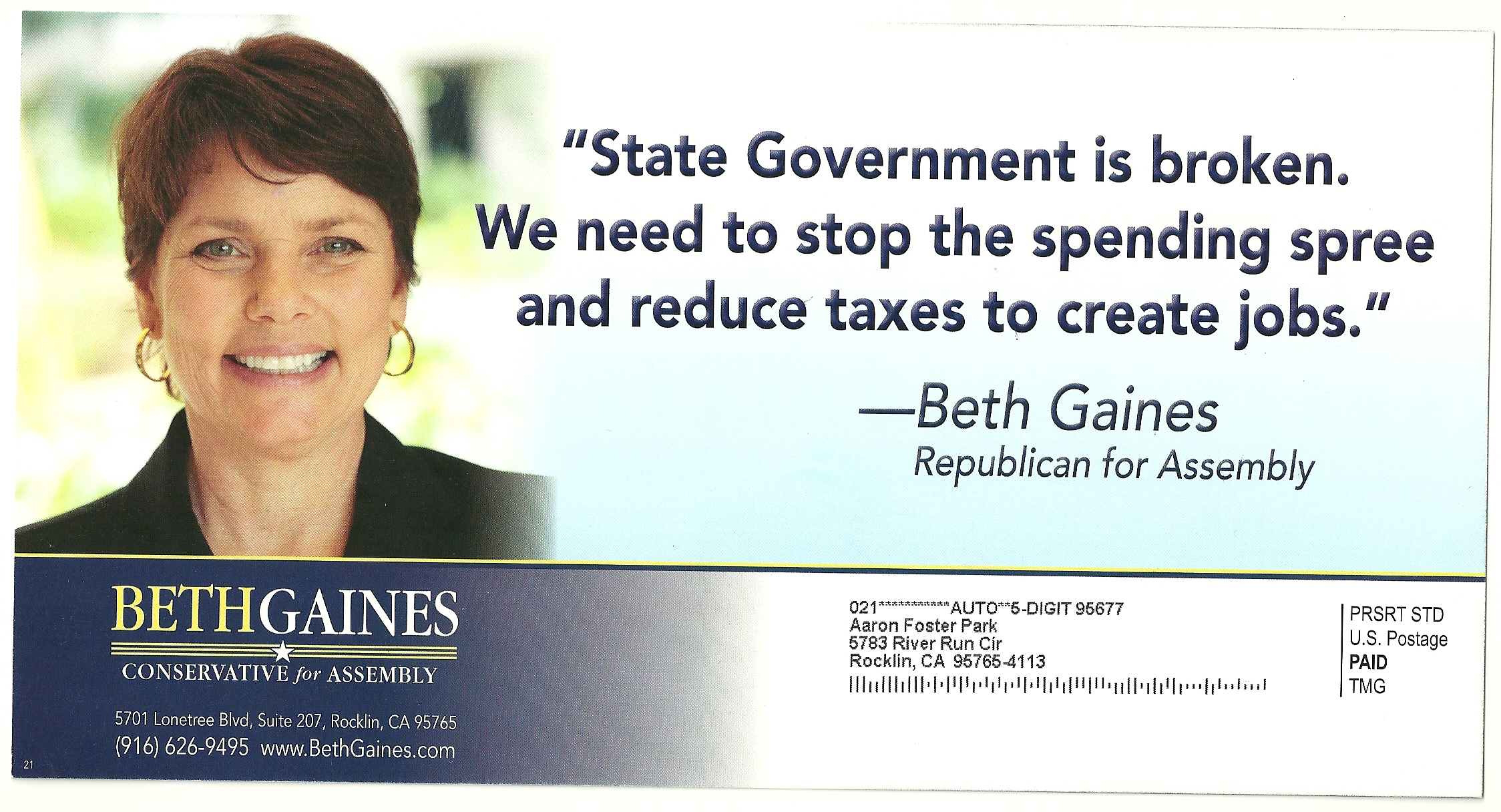 Beth Gaines First Mailer – Generic – Right On Daily Blog